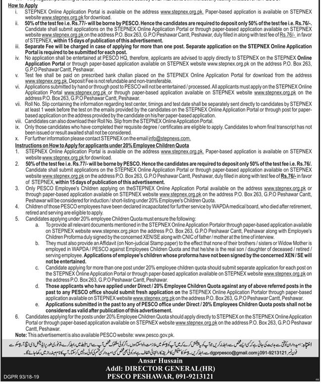 Advertisement for WAPDA Jobs June 2019