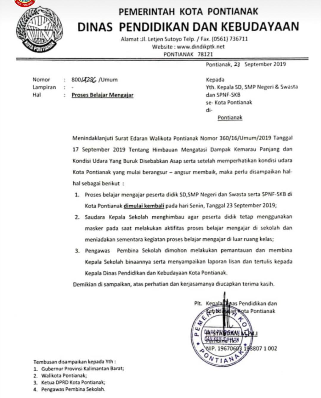Libur Kabut Asappemkot Pontianak Edarkan Surat Masuk