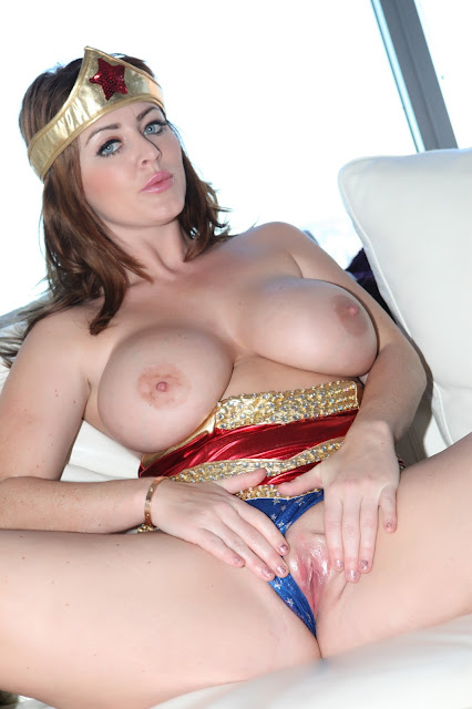 Sophie Dee wonder woman spreading naked pussy