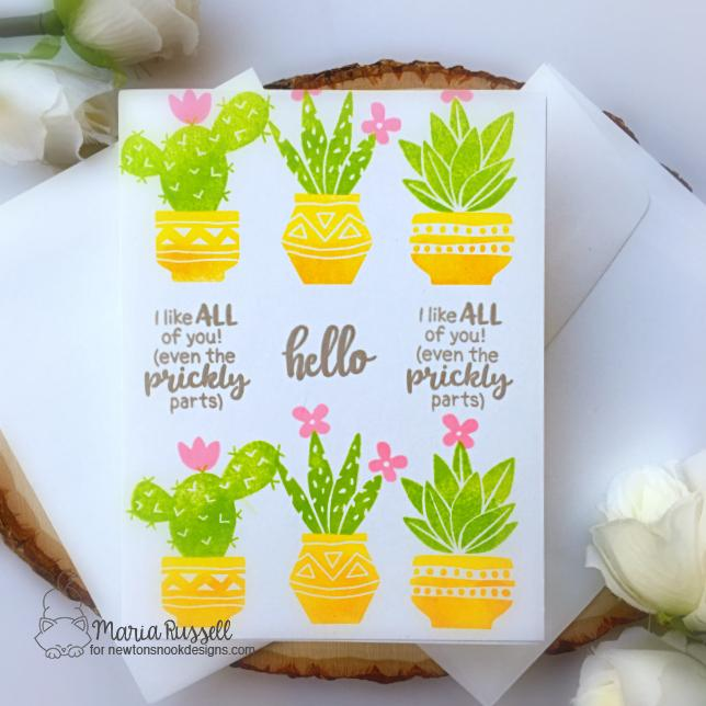 One Layer Cacti Card by Maria Russell | Cultivated Cacti Stamp Set by Newton's Nook Designs #newtonsnook #handmade