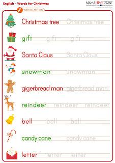 Mama Love Print 自製工作紙 - 聖誕節英文單詞  Words for Christmas 英文幼稚園工作紙  Kindergarten English Worksheet Free Download