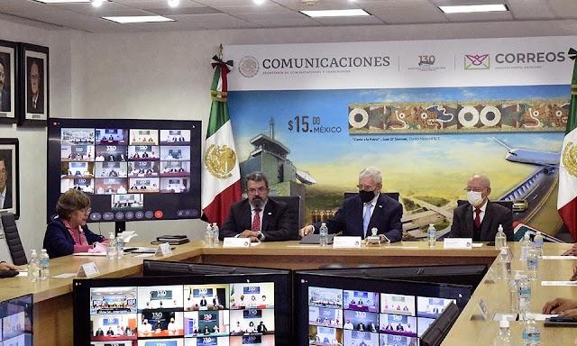 """CANCELA JORGE ARGANIS DÍAZ-LEAL ESTAMPILLA POSTAL  """"13O ANIVERSARIO DE LA SECRETARÍA DE COMUNICACIONES Y TRANSPORTES"""""""