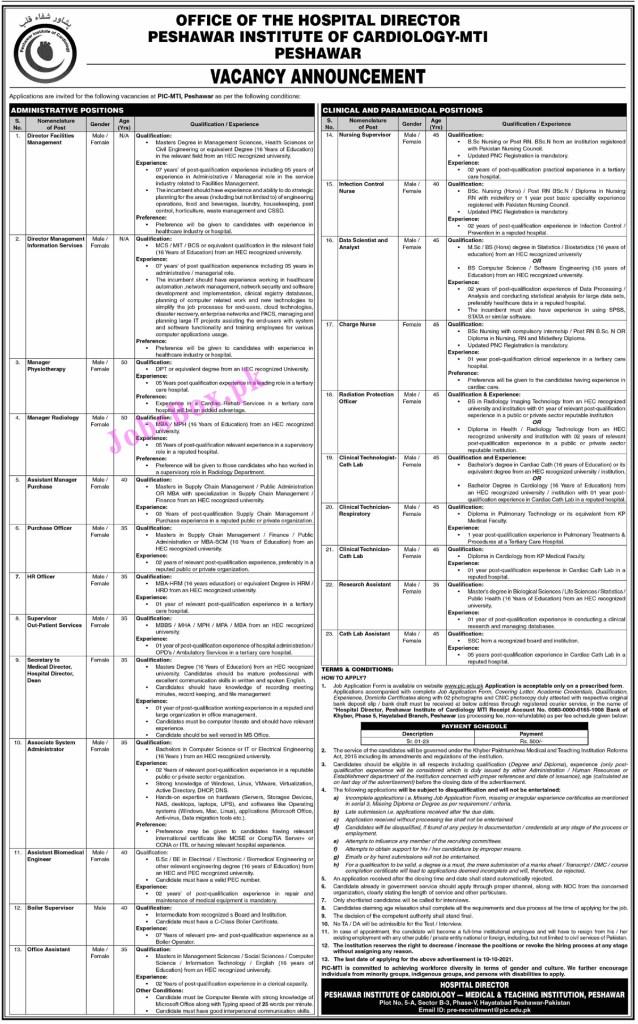 prerecruitment@pic.edu.pk - PIC Peshawar Institute of Cardiology Jobs 2021 in Pakistan