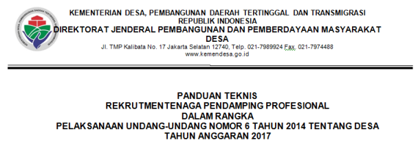 BAGIKAN  !! INILAH INFO REKRUTMEN PENDAMPING PROFESIONAL DESA TAHUN 2017 SELURUH INDONESIA