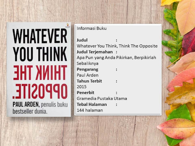 Buku Whatever You think Think The Opposite