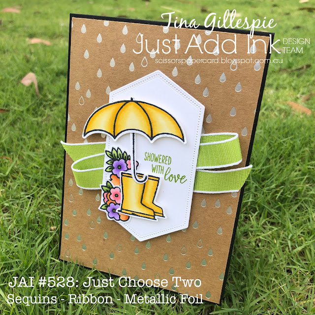 scissorspapercard, Stampin' Up!, Just Add Ink, Under My Umbrella, Shine On SDSP, Stampin' Blends, Stitched Nested Labels Dies