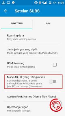 3. Terakhir, silakan kalian aktifkan fitur Mode 4G LTE yang Ditingkatkan