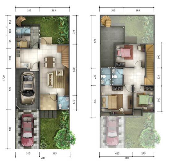 Denah rumah minimalis ukuran 7x17 meter 4 kamar tidur 2 lantai