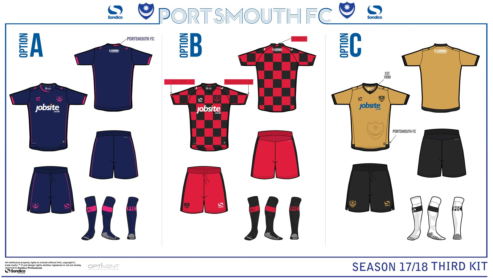 Portsmouth Opens 2017 18 Home Away amp Third Kit Vote