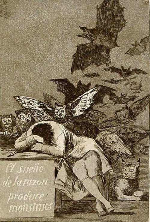 O sono da razão produz monstros, por Francisco de Goya. #PraCegoVer