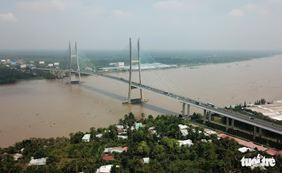My Thuan Bridge opened on May 21, 2019 with the total length of 1,535 meters connects Tien Giang and Vinh Long