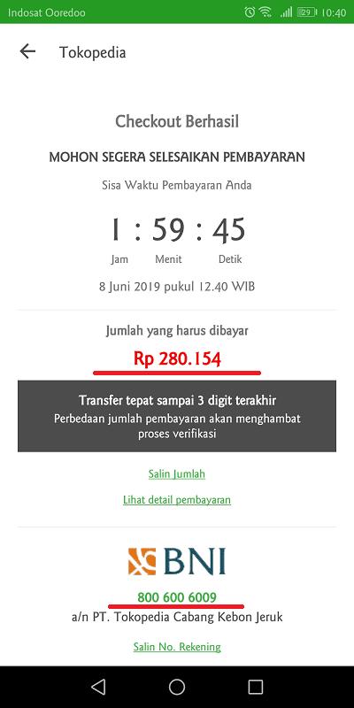 pengguna diberi batas waktu 2 jam setelah melakukan checkout untuk segera membayar tagihan