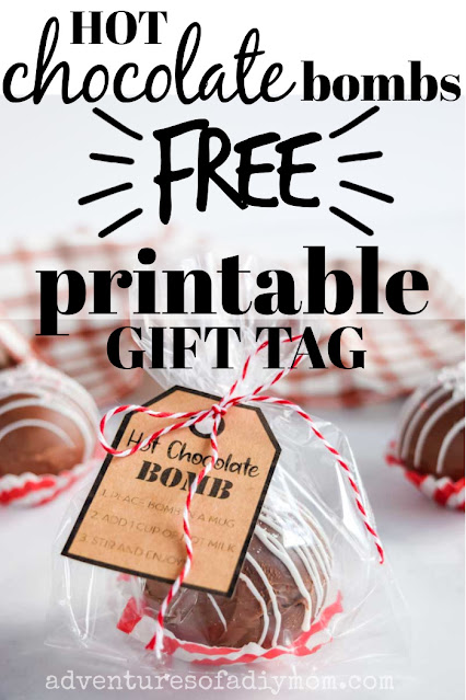 hot chocolate bomb packaged in a cellophane bag with a gift tag tied with twine