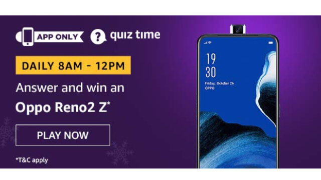 Amazon Oppo Reno2 Z Quiz Answers Today win - Oppo Reno2 Z