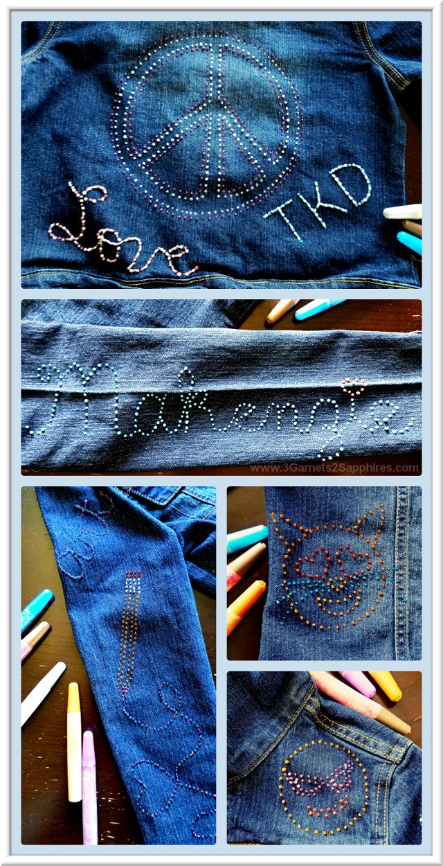 Ideas for personalizing denim with emojis, a name, and more with Glitter Fabric Paint  |  3 Garnets & 2 Sapphires