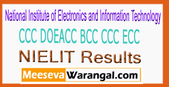 NIELIT CCC DOEACC BCC CCC ECC Result August 2017