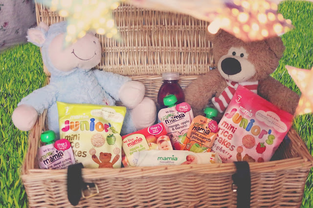aldi picnic hamper containing everything you need for a teddy bear's picnic with a toddler - snacks from the Mamia range, mamia wet wipes and a drink