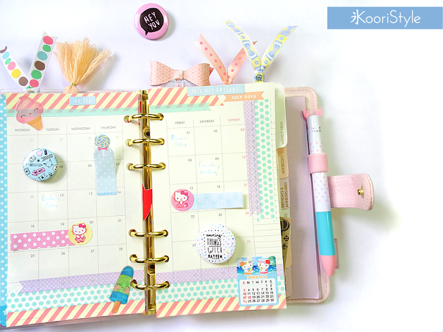 Tutorial, DIY, Handmade, Crafts, Kawaii, Cute, Paper, Koori Style, Koori Style, Koori, Style, Planner, Planning, Stationery, Deco, Decoration, Time Planner, Kikki K, Filofax, Washi, Deco, Tape, Monthly, Journal, Agenda, Stickers, Medium, Live Bright, Ring Planner, Plan With Me, Set Up, Sticky Note, 和紙テープ, プランナー, 플래너, July, Julio
