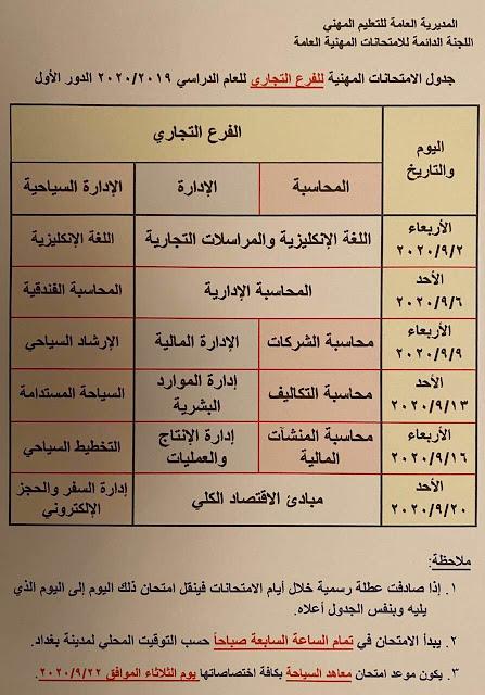 جدول الامتحانات العامة / الدور الاول للتعليم المهني ولكافة الفروع والتخصصات؟