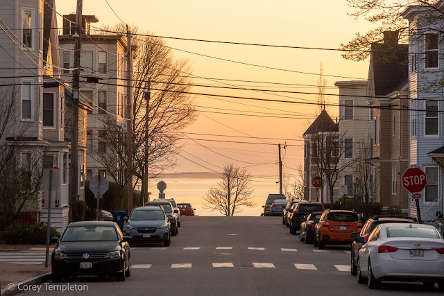 Portland, Maine April 2021 photo by Corey Templeton. Mellow morning hues beyond Wilson Street, on Munjoy Hill.