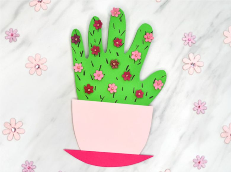 Handprint flowering cactus Mother's Day card for kids to make