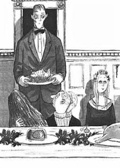 Familia addams desenho jantar primo it na mesa