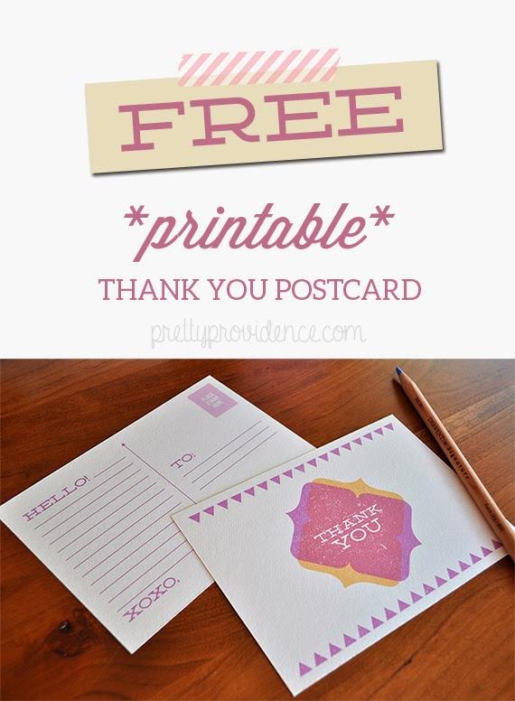 Free Thank You Postcard Printable - Pretty Providence