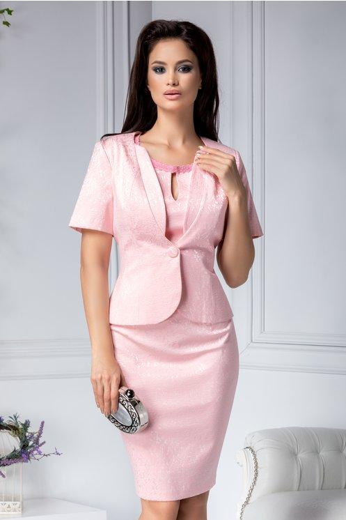 Compleu marime mare elegant de ocazii roz cu detalii florale