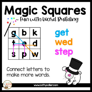 Building a firm foundation in letters & sounds will help with both reading and writing. Magic Squares help build words.