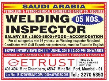 QC welding inspector jobs in Saudi Arabia