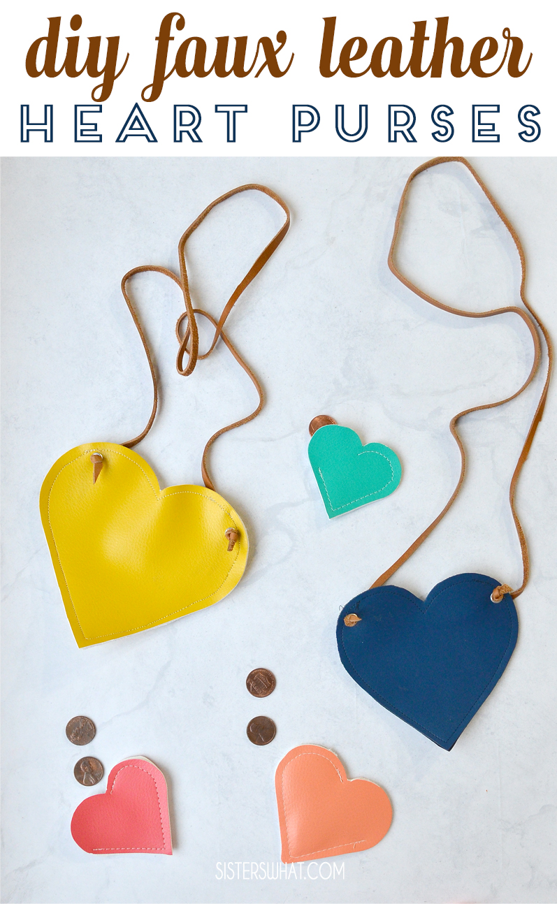 diy faux leather heart purse