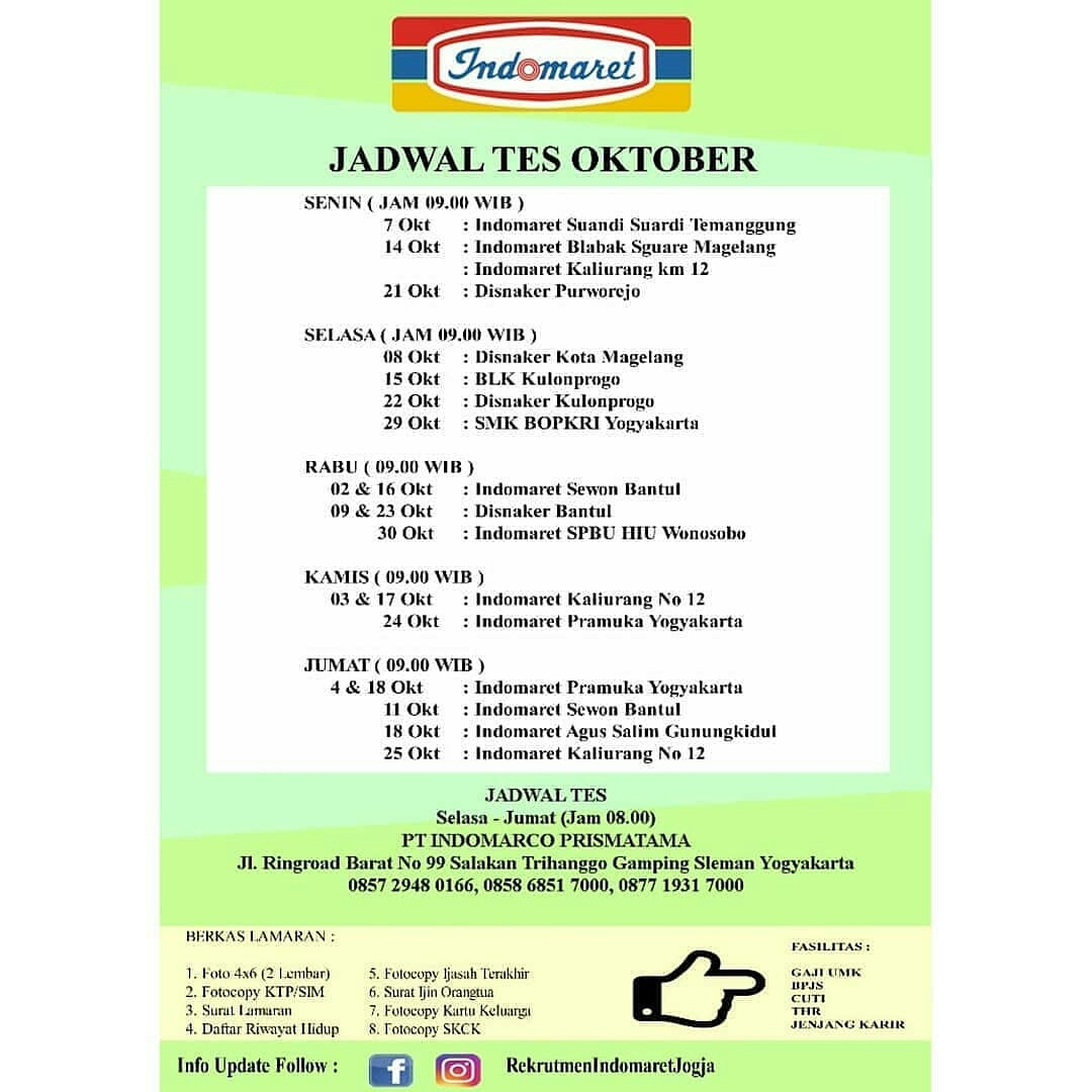 Lowongan Kerja Indomaret Jadwal Tes Oktober Untuk Wilayah Temanggung Magelang Kulon Progo Yogyakarta Bantul Gunung Kidul Bursa Lowongan Kerja