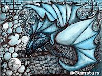 Anticipation dragon of blue dreams watercolor acrylic and ink 2019