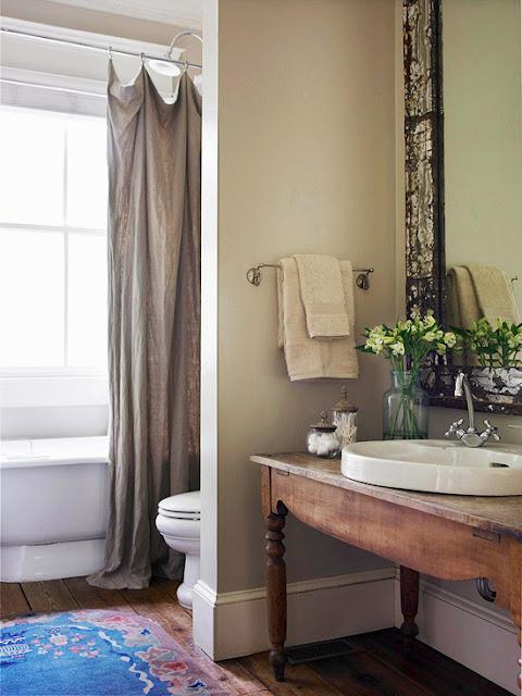 Adesivo De Chão Que Imita Madeira ~ Inspiraç u00e3o para banheiros e lavabos rústicos! Jeito de Casa Blog de Decoraç u00e3o e Arquitetura