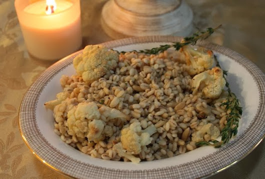 Roasted Cauliflower and Barley Salad with Caesar Dressing