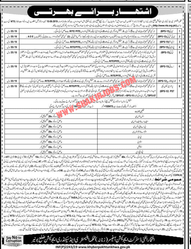 Directorate Of Elementary & Secondary Education KPK District Bunir Through NTS Jobs for Male 2019