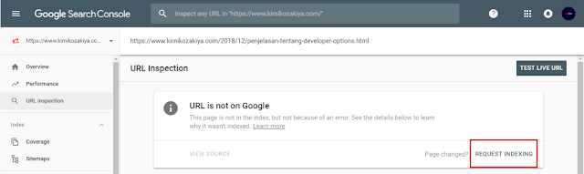 Google Search Console - Request Indexing