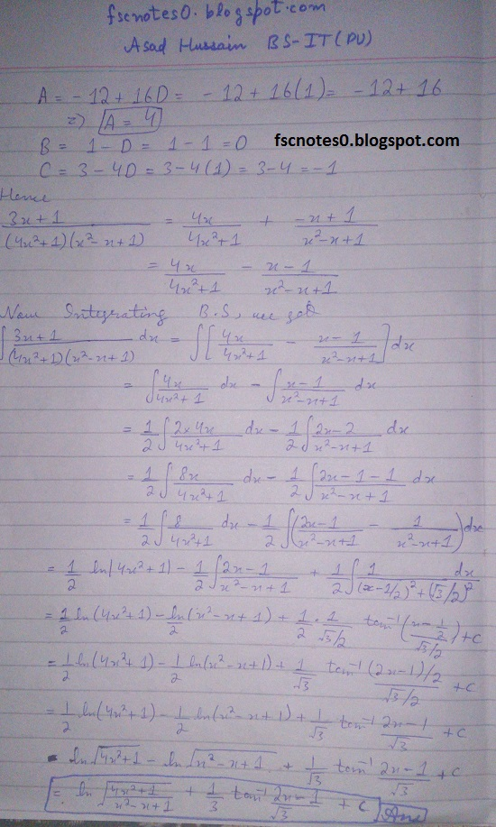 FSc ICS Notes Math Part 2 Chapter 3 Integration Exercise 3.5 question 23 - 31 by Asad Hussain 5