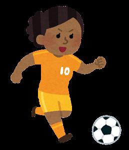 サッカー選手のイラスト(女性・黒人)
