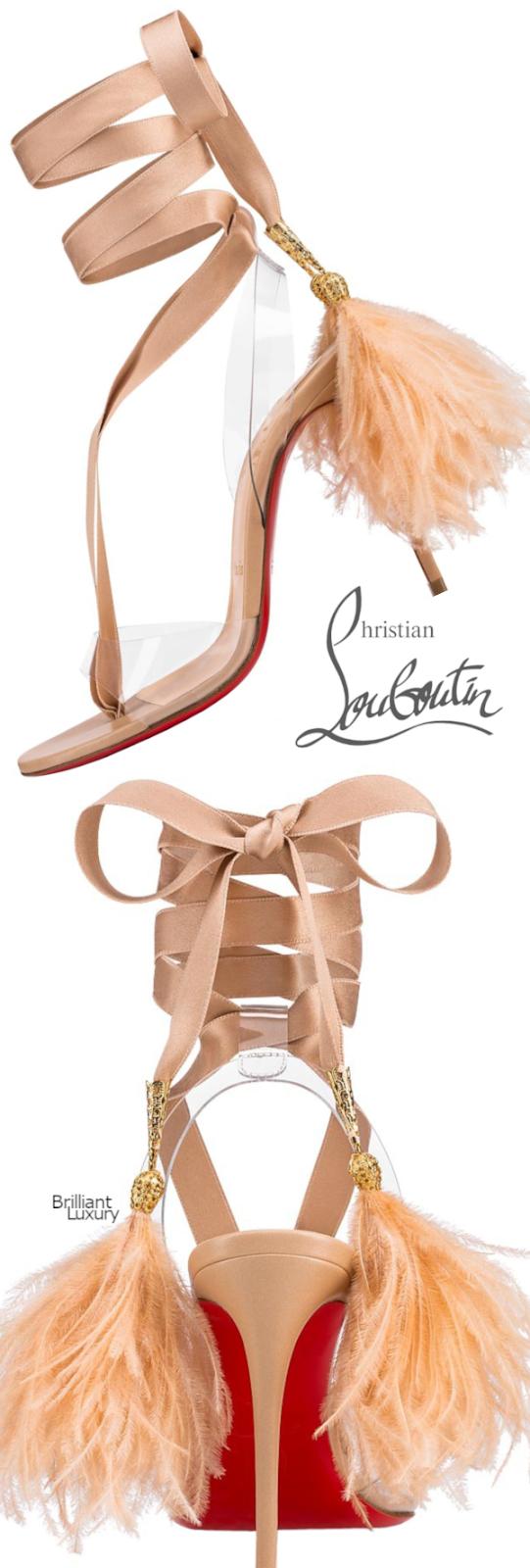 Brilliant Luxury♦Christian Louboutin Marie Edwina feathered open-toe sandals