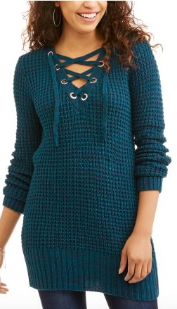 Walmart  No Boundaries Juniors' Lace-Up Pullover Sweater Tunic