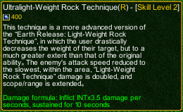 naruto castle defense 6.0 Ultralight-Weight Rock Technique detail