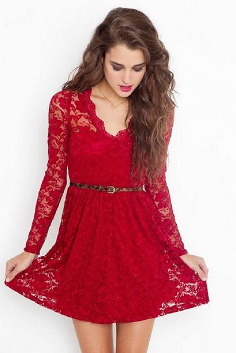 vestido de moda con encaje rojo