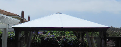 repaired polycarbonate roof on a Gazebo