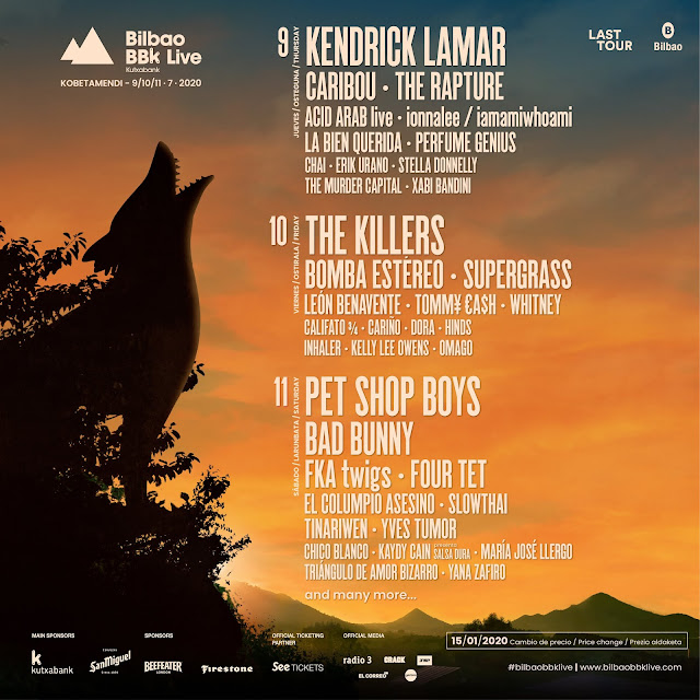 cartel, días, bilbao, bbk, live, 2020, kendrick, lamar, pet, shop, boys, killers