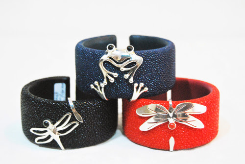 Stingray Bracelet with dragonfly/ frog ornament