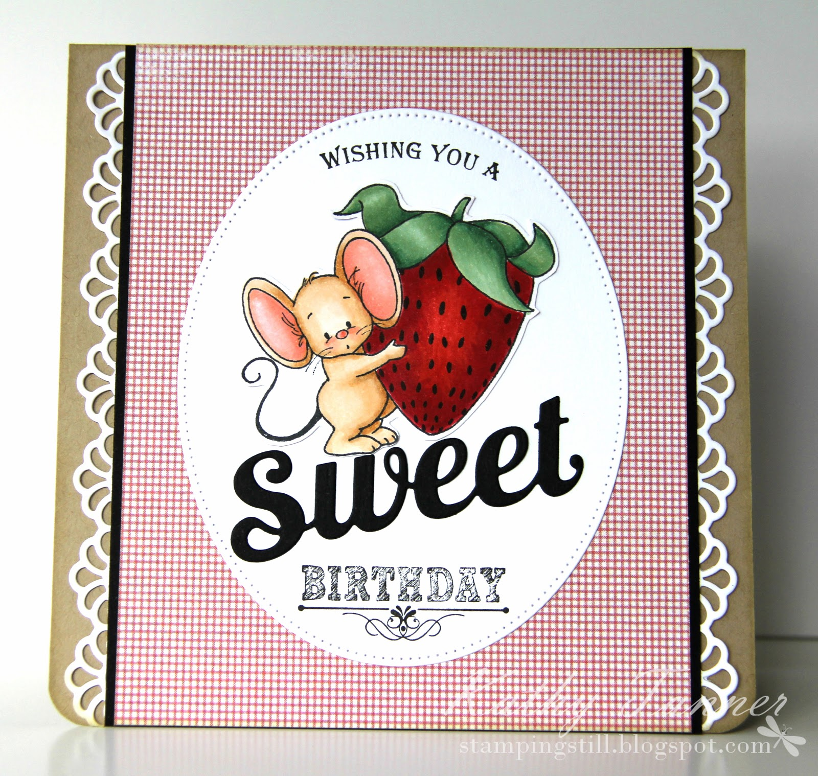 strawberry mouse, whimsy stamps, mini chalkboard, sweet die