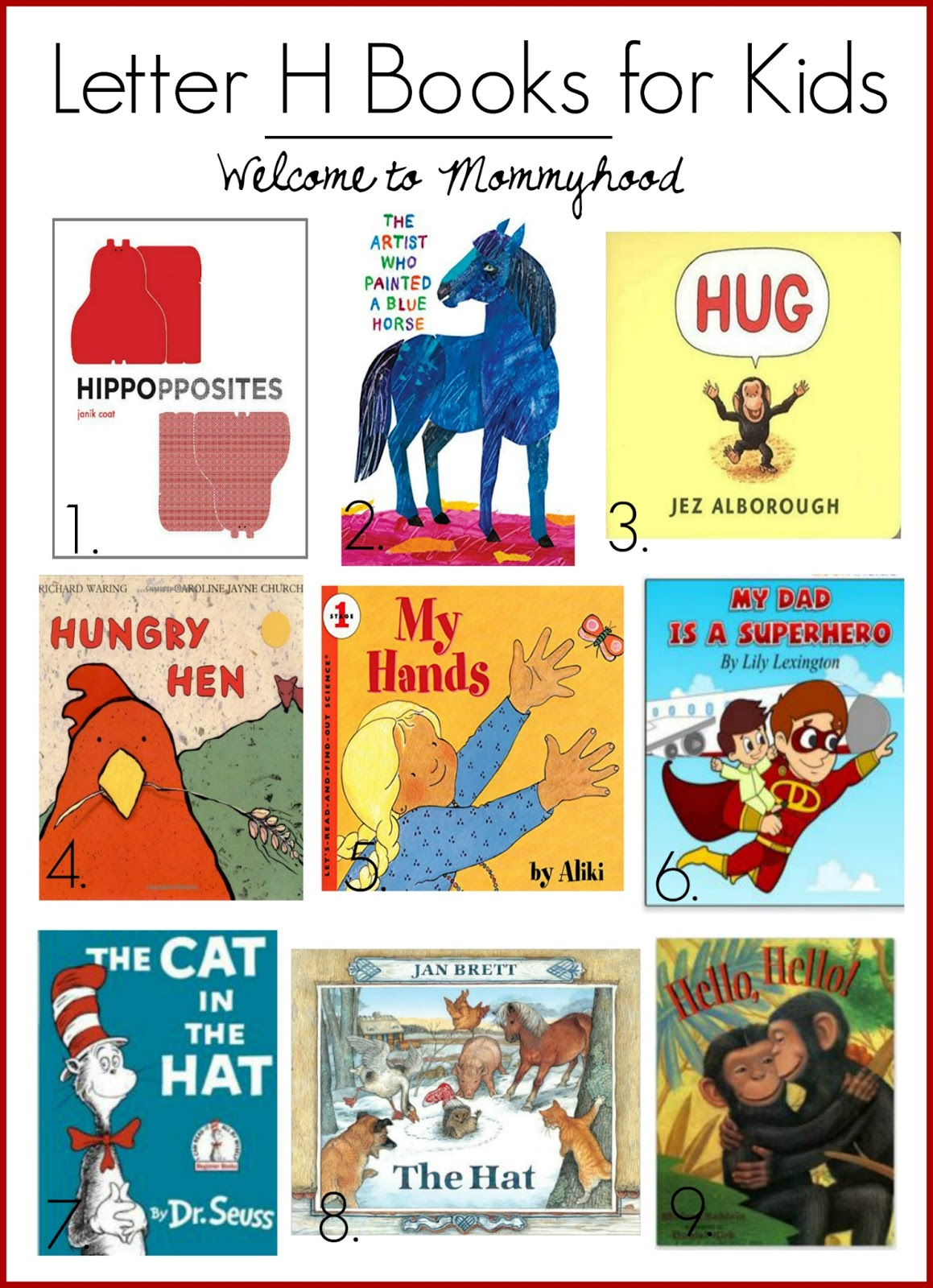 Welcome To Mommyhood Letter H Book Recommendations