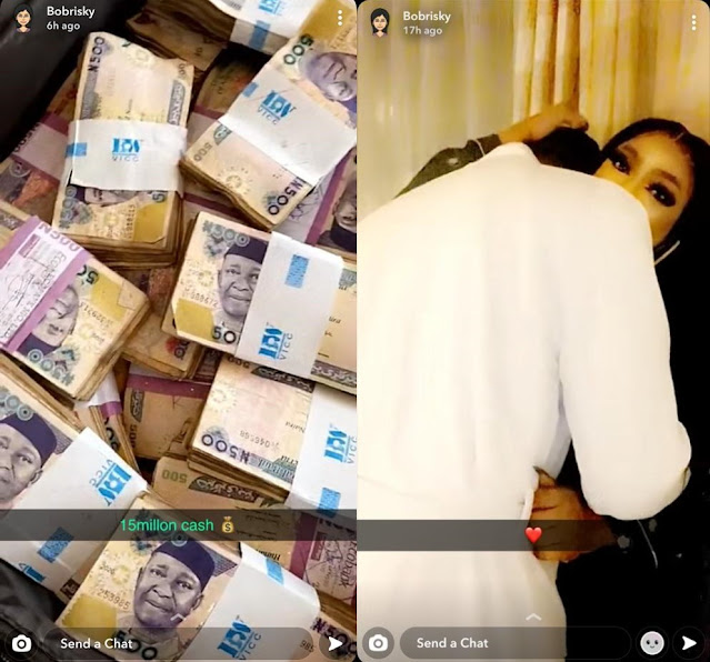 Bobrisky proudly displays the 'N15 million' given to him by his boyfriend after spending a night together (video)