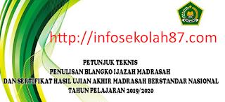JUKNIS PENULISAN BLANGKO IJAZAH MADRASAH DAN SERTIFIKAT HASIL UJIAN AKHIR MADRASAH BERSTANDAR NASIONAL  TAHUN PELAJARAN 2019/2020